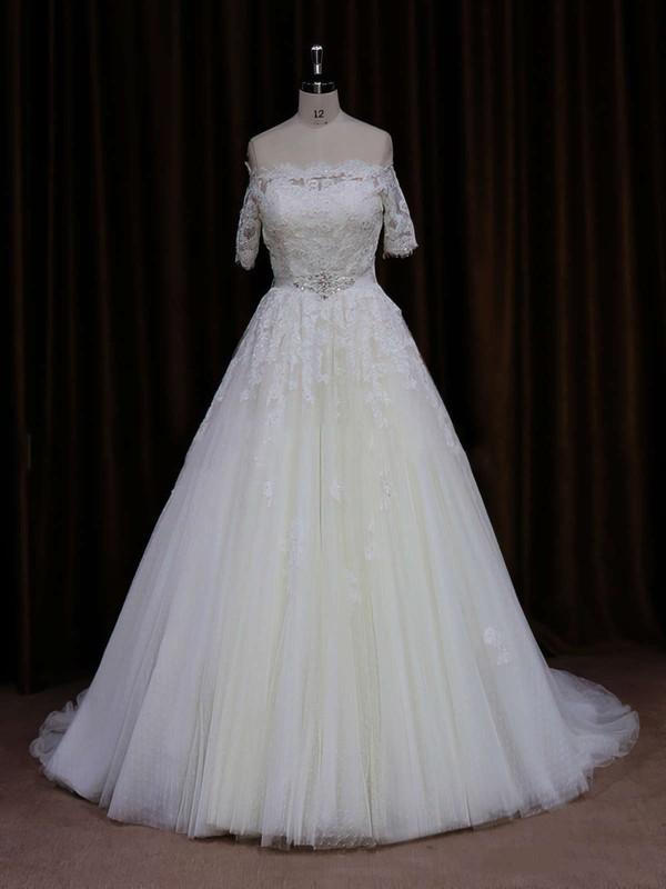 Off-the-shoulder Court Train Short Sleeve Beading Ivory Tulle Wedding Dress #LDB00021654