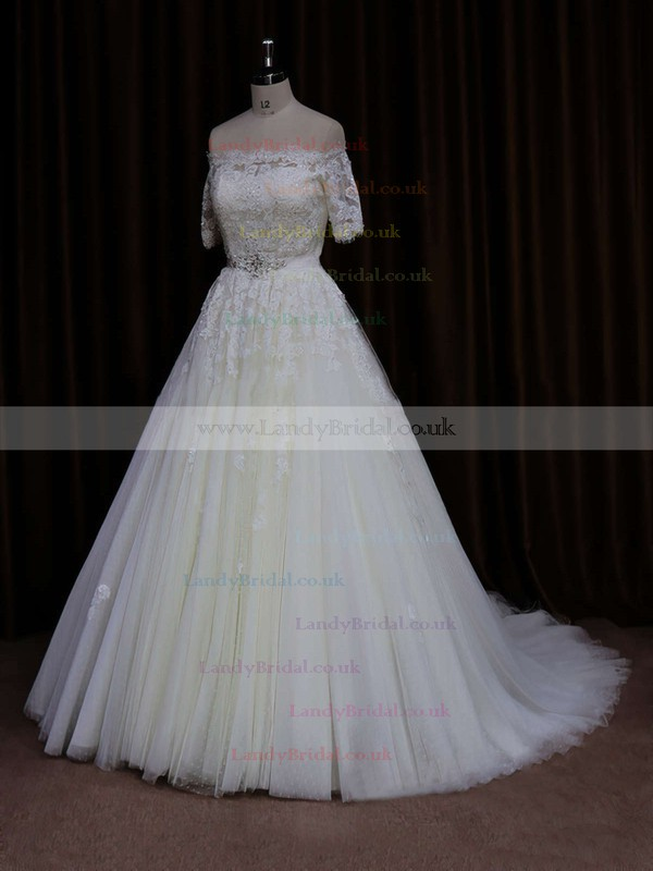 Off-the-shoulder Court Train Short Sleeve Beading Ivory Tulle Wedding Dress #LDB00021654