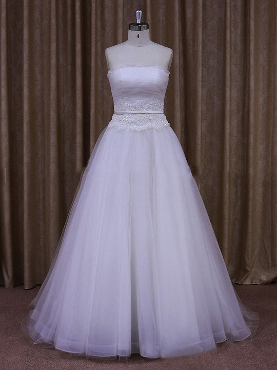 Beautiful White Tulle Sweep Train Appliques Lace Strapless Wedding Dress #LDB00021655