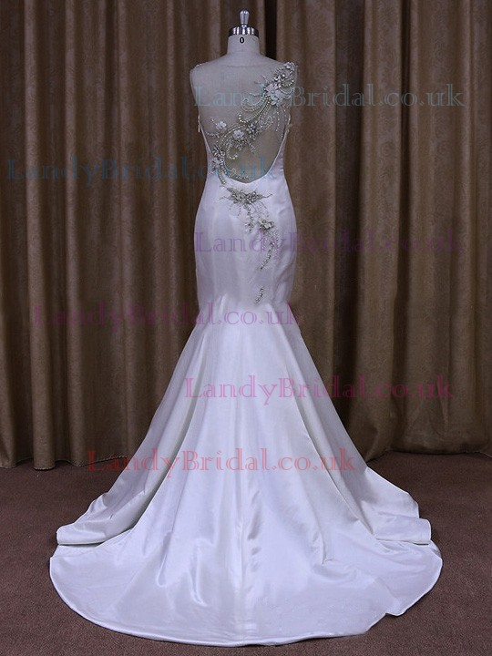 Great Trumpet/Mermaid White Satin Crystal Detailing Sweep Train Wedding Dress #LDB00021656