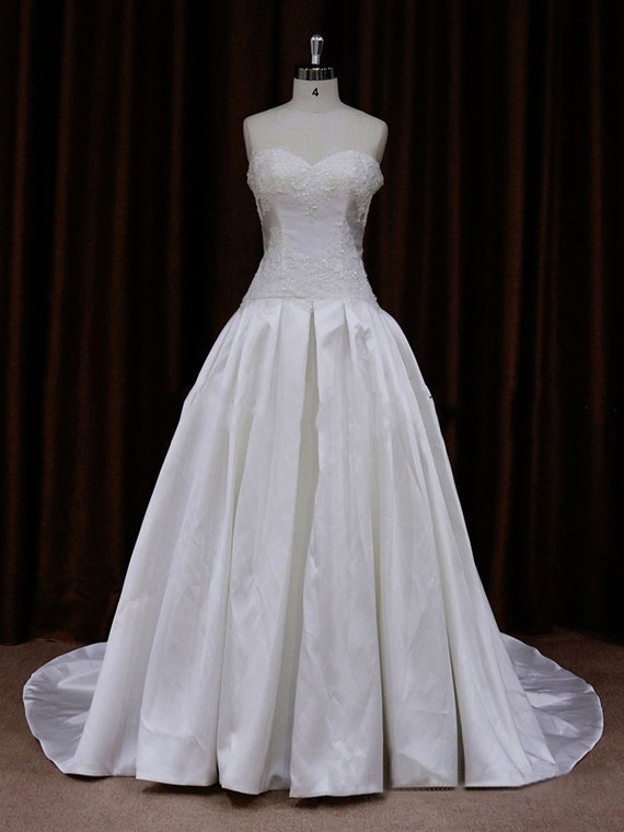 A-line Ivory Taffeta Appliques Lace Court Train Top Wedding Dress #LDB00021657