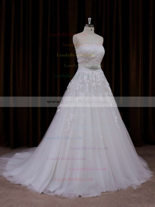 Pretty Strapless Court Train Appliques Lace Ivory Tulle Wedding Dress #LDB00021660