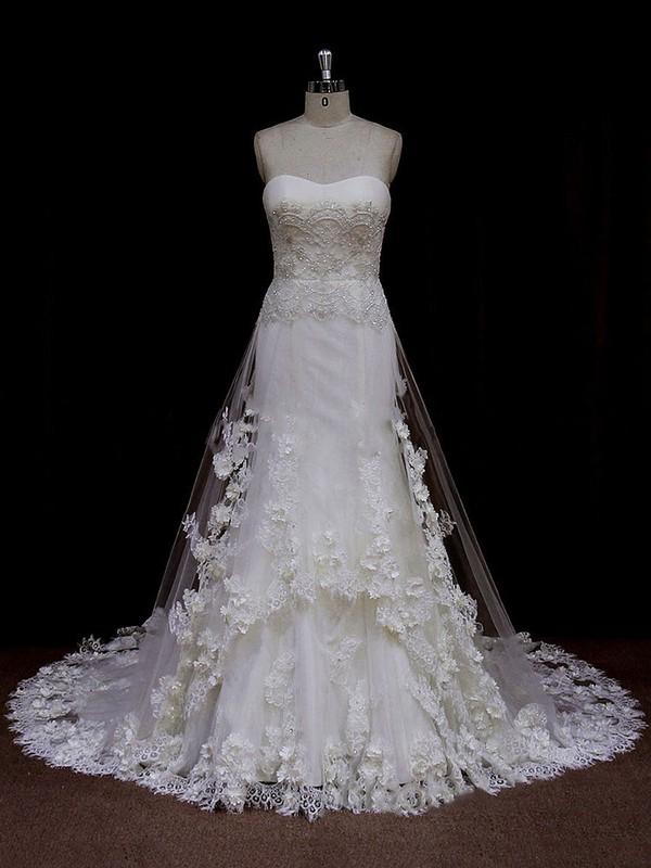 Trumpet/Mermaid Ivory Tulle Flower(s) Lace-up Chapel Train Wedding Dress #LDB00021661