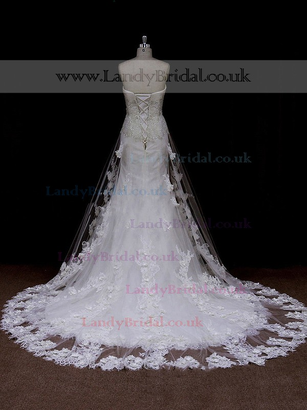Trumpet/Mermaid Ivory Tulle Flower(s) Lace-up Chapel Train Wedding Dress #LDB00021661