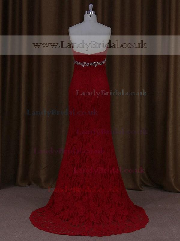Different Sheath/Column Red Lace Crystal Detailing Sweep Train Wedding Dress #LDB00021662