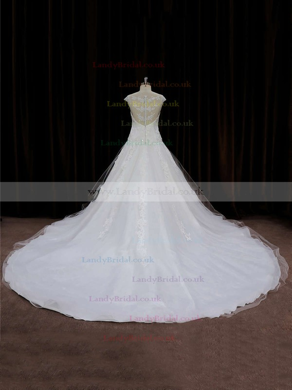 Scoop Neck Ivory Tulle Chapel Train Appliques Lace Cap Straps Wedding Dress #LDB00021664