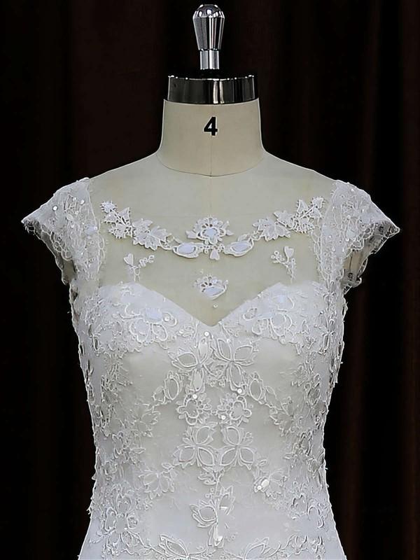 Scoop Neck Ivory Tulle Chapel Train Appliques Lace Cap Straps Wedding Dress #LDB00021664