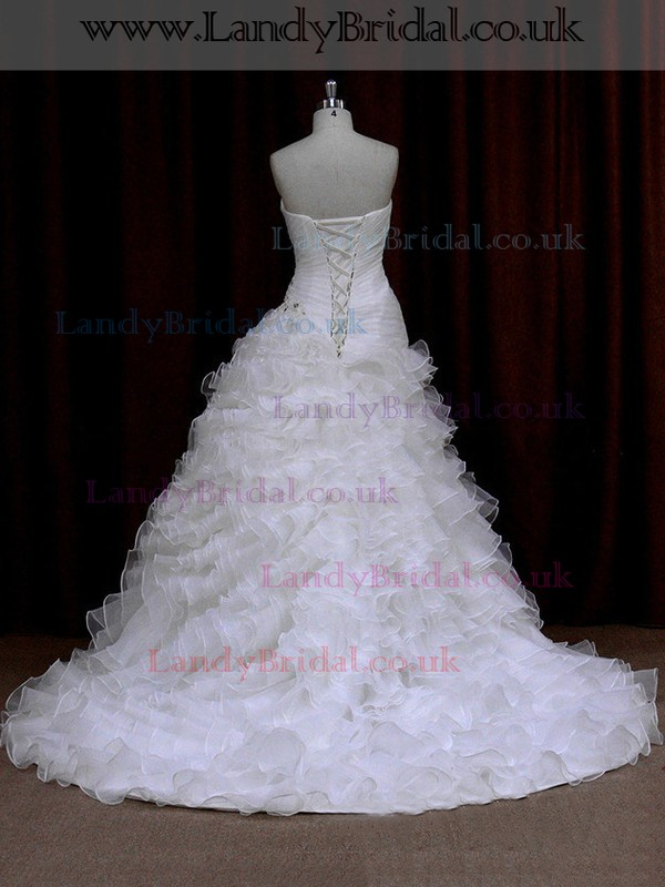 Princess Ivory Organza Cascading Ruffles Lace-up Sweetheart Wedding Dress #LDB00021665