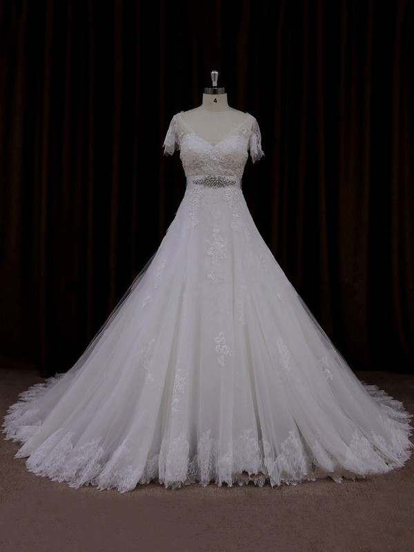 V-neck Tulle Short Sleeve Appliques Lace Ivory Chapel Train Wedding Dress #LDB00021666