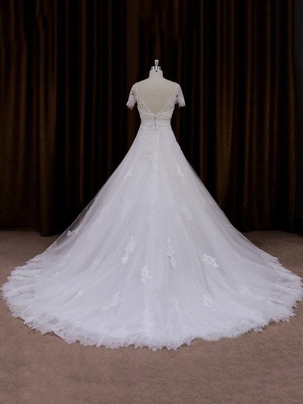 V-neck Tulle Short Sleeve Appliques Lace Ivory Chapel Train Wedding Dress #LDB00021666