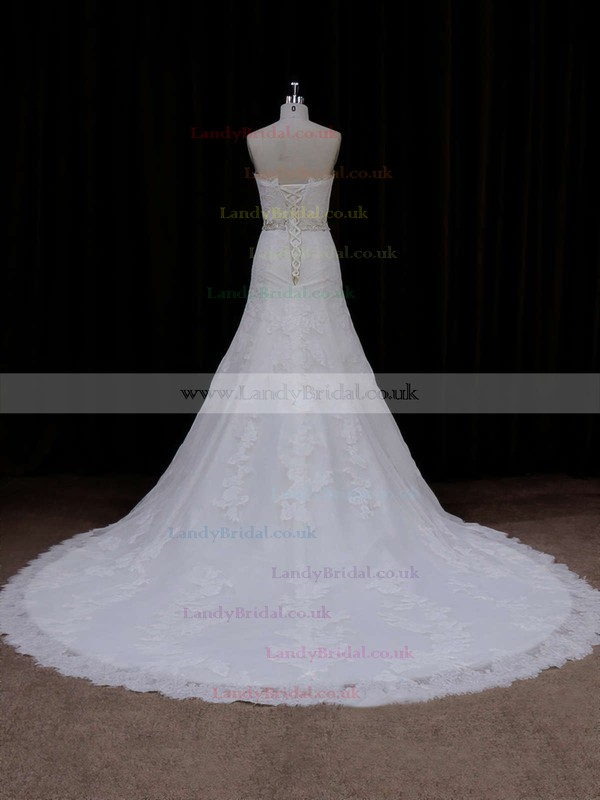 Strapless Tulle Chapel Train Lace-up Appliques Lace Ivory Wedding Dress #LDB00021667