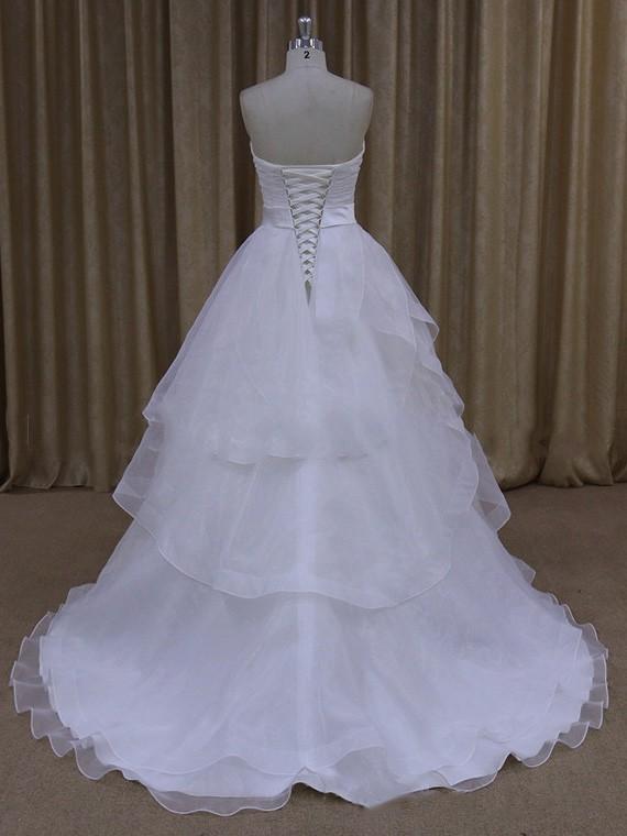 Princess White Satin Organza Sashes / Ribbons Court Train Latest Wedding Dress #LDB00021669