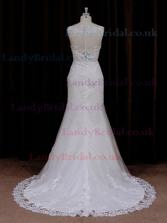 Trumpet/Mermaid Scoop Neck Satin Tulle Sweep Train Appliques Lace Wedding Dress #LDB00021673
