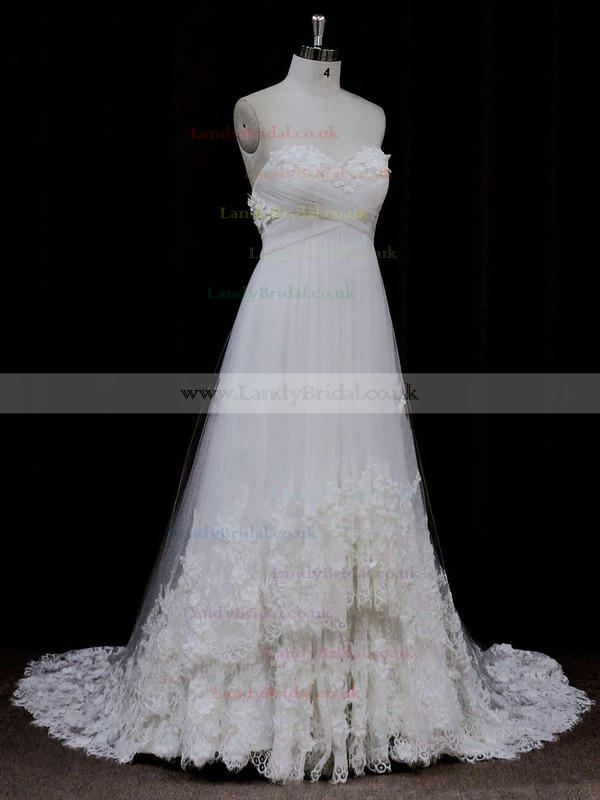 Empire Sweetheart Tulle Appliques Lace Ivory Online Wedding Dress #LDB00021678