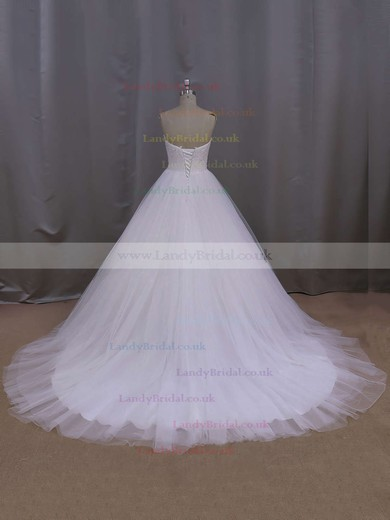 A-line White Tulle Court Train Lace-up Beading Wedding Dress #LDB00021679