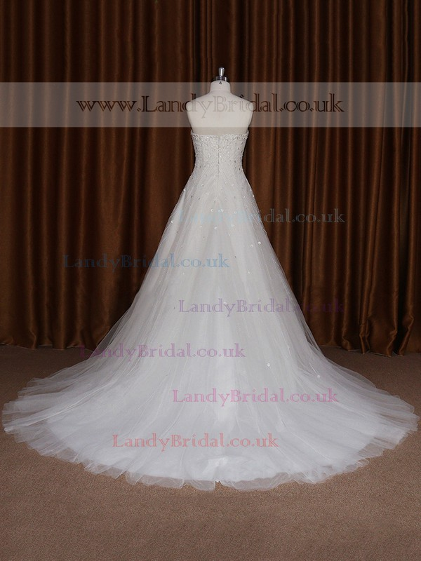 Cheap Sweetheart Tulle Sweep Train Beading Ivory Wedding Dress #LDB00021680