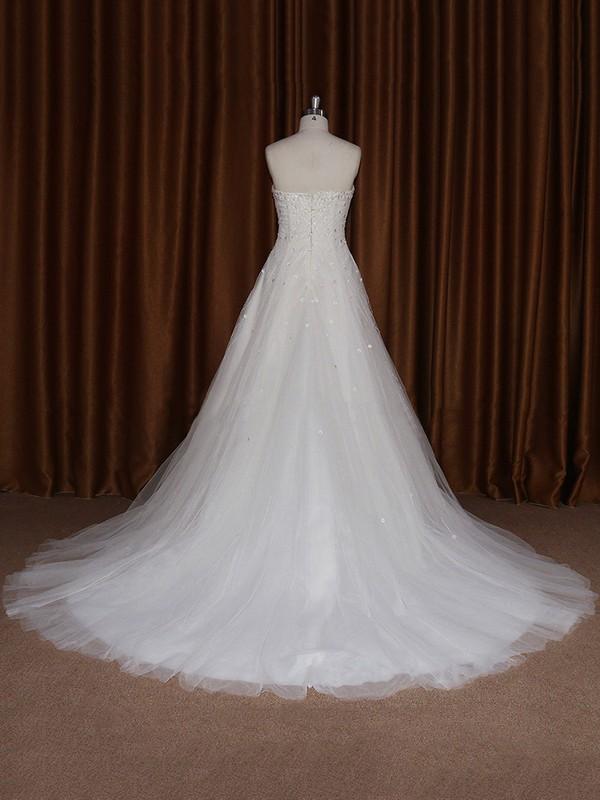 Cheap Sweetheart Tulle Sweep Train Beading Ivory Wedding Dress #LDB00021680