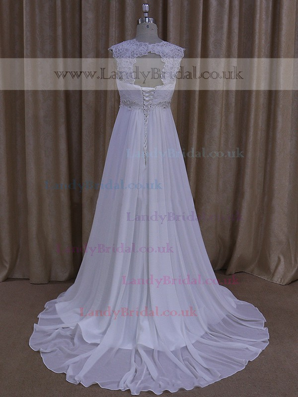 Empire White Chiffon Beading Lace-up Court Train Wedding Dress #LDB00021681