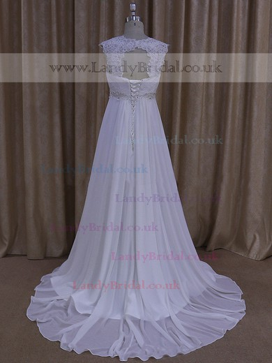 Empire White Chiffon Beading Lace-up Court Train Wedding Dress #LDB00021681