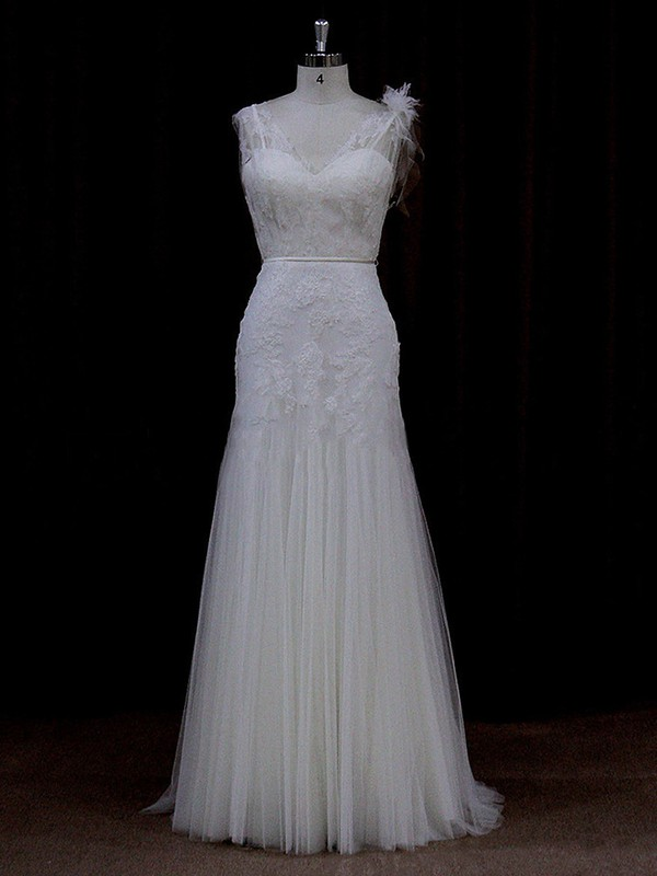 Good Trumpet/Mermaid Ivory Tulle Appliques Lace Floor-length Wedding Dress #LDB00021682