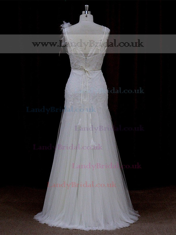 Good Trumpet/Mermaid Ivory Tulle Appliques Lace Floor-length Wedding Dress #LDB00021682