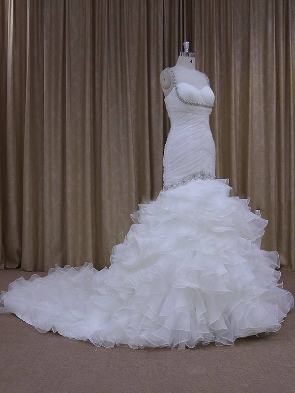 Coolest Trumpet/Mermaid Ivory Organza Cascading Ruffles Chapel Train Wedding Dresses #LDB00021684