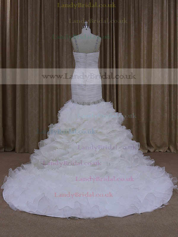 Coolest Trumpet/Mermaid Ivory Organza Cascading Ruffles Chapel Train Wedding Dresses #LDB00021684