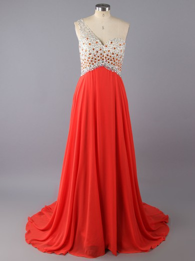 Gorgeous One Shoulder Chiffon Crystal Detailing Sweep Train Backless Prom Dress #LDB02015275