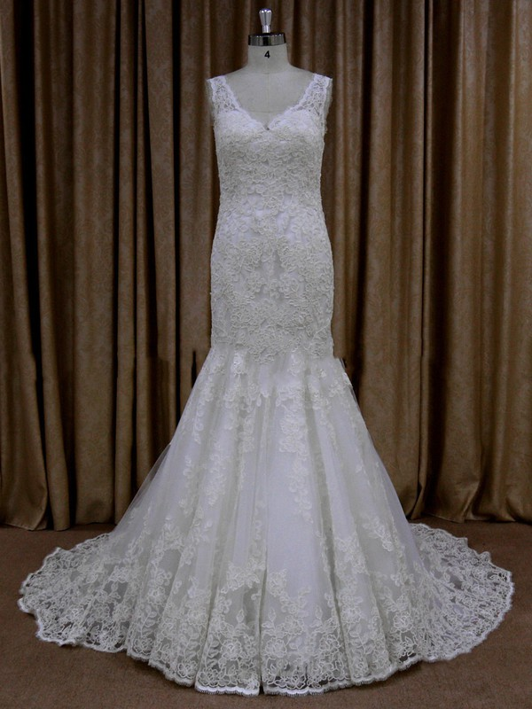 Sweet V-neck Ivory Tulle Appliques Lace Trumpet/Mermaid Wedding Dresses #LDB00021685