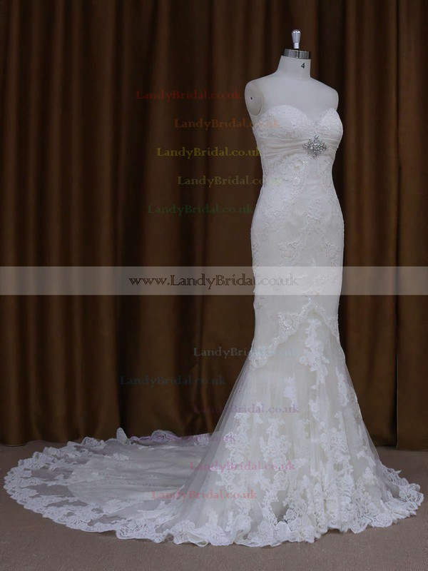 Sweetheart Lace Chapel Train Beading Lace-up Ivory Wedding Dresses #LDB00021687