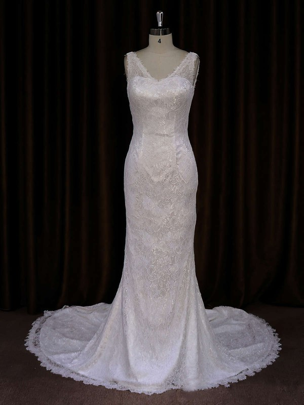 Discounted Trumpet/Mermaid Ivory Lace Buttons V-neck Wedding Dresses #LDB00021688