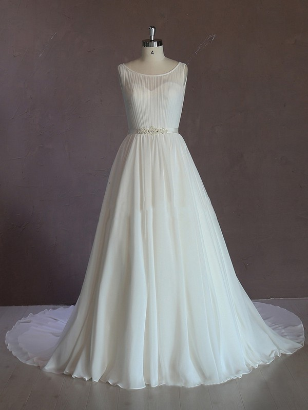 Scoop Neck Chapel Train Sashes / Ribbons Ivory Chiffon Summer Wedding Dresses #LDB00021689