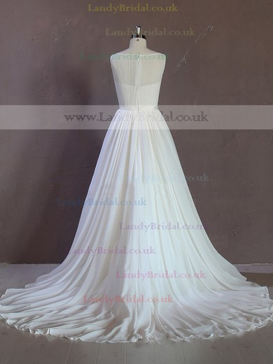 Scoop Neck Chapel Train Sashes / Ribbons Ivory Chiffon Summer Wedding Dresses #LDB00021689