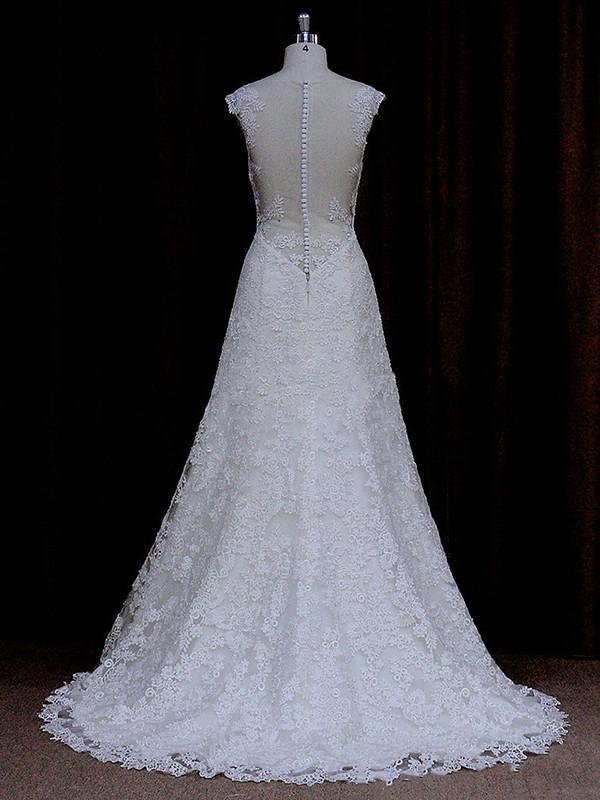 Sweetheart Lace Sweep Train Cap Straps Ivory Pretty Wedding Dresses #LDB00021690