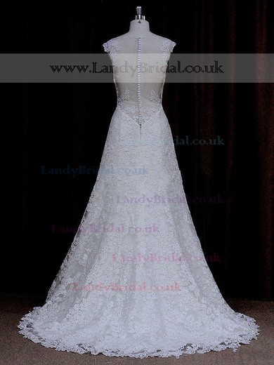 Sweetheart Lace Sweep Train Cap Straps Ivory Pretty Wedding Dresses #LDB00021690