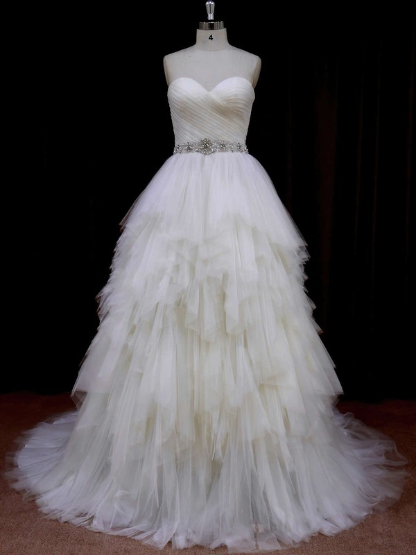 Princess Ivory Tulle Tiered Sweetheart Amazing Wedding Dresses #LDB00021691