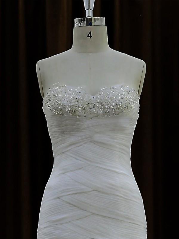 Modest A-line Lace Organza Tulle Cascading Ruffles Court Train Wedding Dresses #LDB00021692