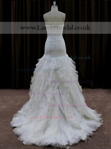 Modest A-line Lace Organza Tulle Cascading Ruffles Court Train Wedding Dresses #LDB00021692