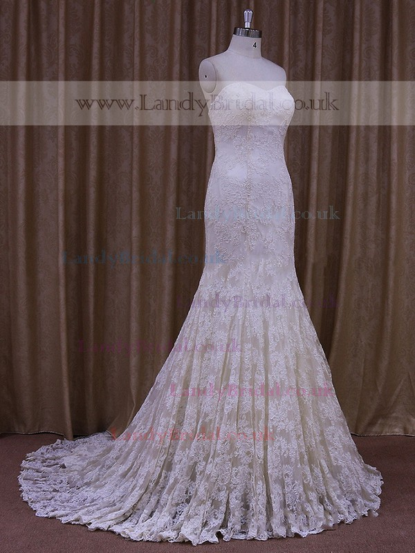 Ivory Lace Court Train Ruffles Trumpet/Mermaid Beautiful Wedding Dresses #LDB00021693