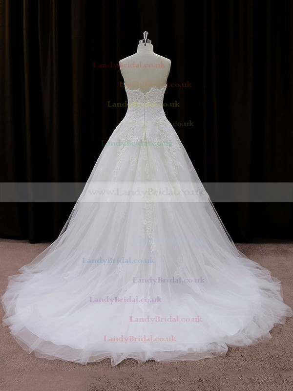 Best Strapless Appliques Lace Ivory Tulle Court Train Wedding Dresses #LDB00021694