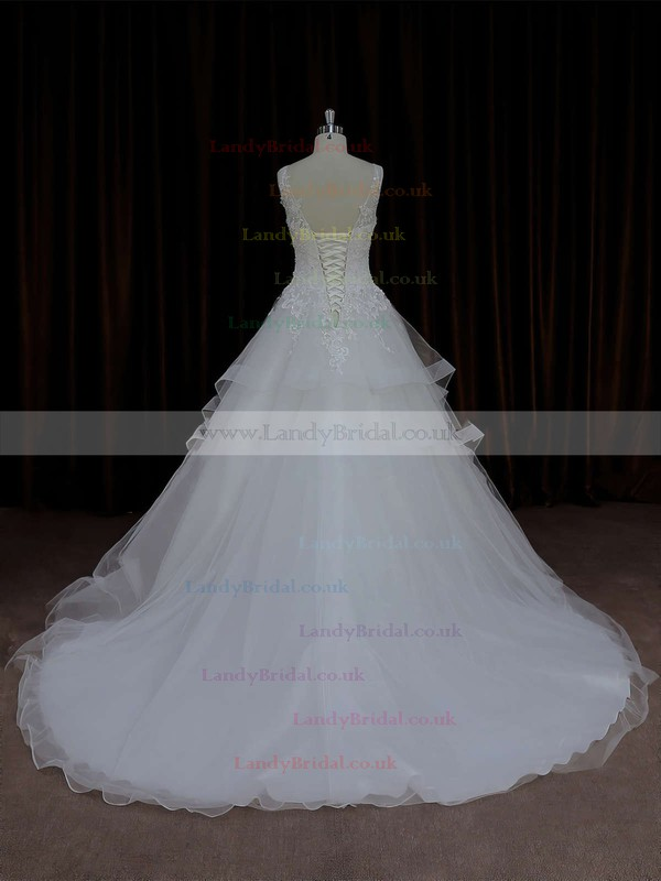V-neck Tulle Ivory Lace-up Appliques Lace Ball Gown Wedding Dresses #LDB00021695
