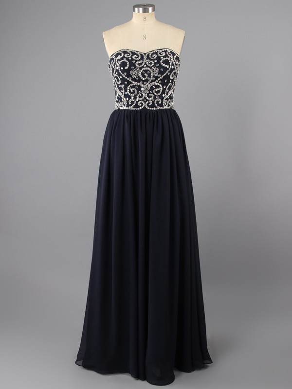 Sweetheart Dark Navy Chiffon Beading Classic Floor-length Prom Dress #LDB02014217