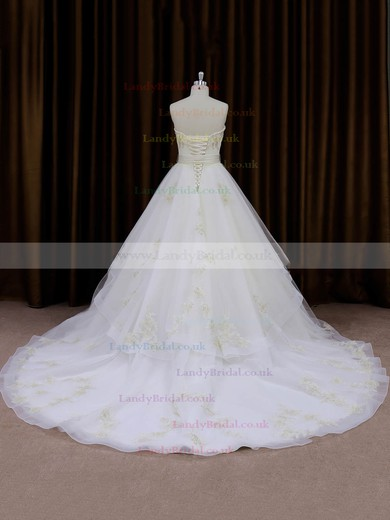 Great A-line Chapel Train Sashes / Ribbons Ivory Organza Wedding Dresses #LDB00021696
