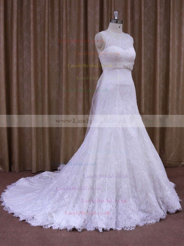 Scoop Neck Lace Sashes / Ribbons Court Train White Ladies Wedding Dresses #LDB00021697