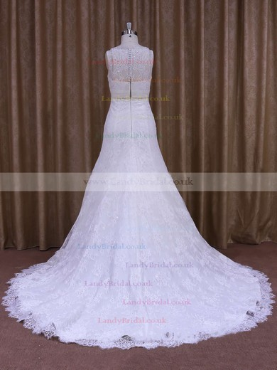 Scoop Neck Lace Sashes / Ribbons Court Train White Ladies Wedding Dresses #LDB00021697
