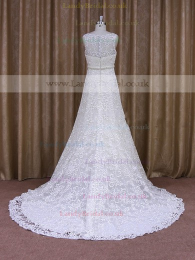 A-line Scoop Neck Pearl Detailing Ivory Lace Best Wedding Dresses #LDB00021698