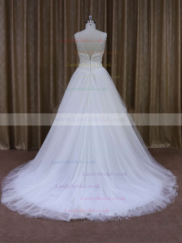 V-neck White Tulle Sashes/Ribbons Vintage Ball Gown Wedding Dresses #LDB00021699