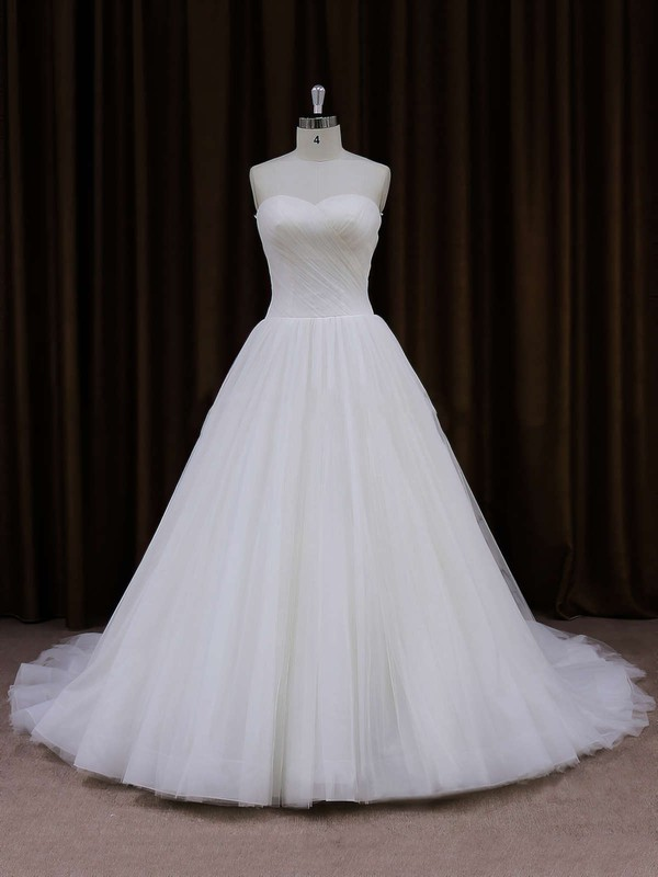 Simple Ball Gown Ivory Sweetheart Tulle Chapel Train Wedding Dresses #LDB00021701