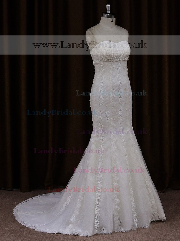 Modest Sweetheart Ivory Lace Beading Trumpet/Mermaid Wedding Dresses #LDB00021702