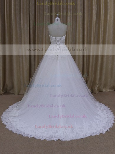 Tulle Appliques Lace Sweetheart Lace-up Ball Gown Wedding Dresses #LDB00021703